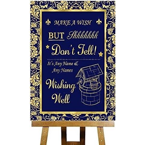 Wishing Well Messaggio Blu e oro Collection–stampa di Matrimonio Segno Large A3