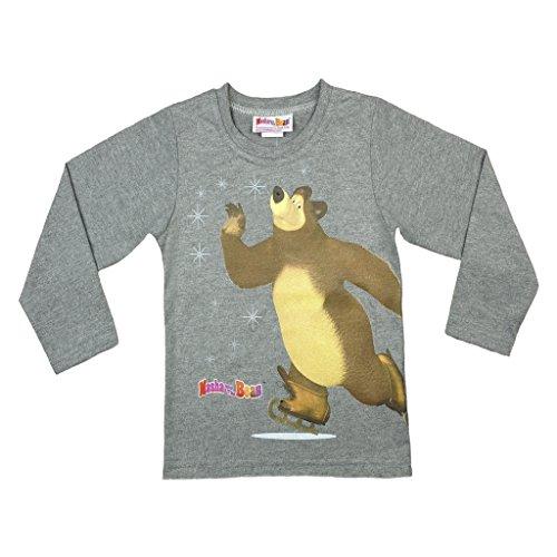 Jungen LANGARM-SHIRT Mascha und der Bär, Oberteil aus 100% Baumwolle in GRÖSSE 92, 98, 104, 110, 116, 122, Longsleeve, Sweat-Shirt, lang-ärmliges T-Shirt in Grau mit süßem Motiv Size 92 (Hoody Pullover Grün Säugling)