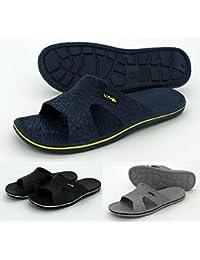 d72f7e93c8 heimtexland Badepantoletten Herren in schwarz weiß Größe 41 mit Profilsohle  Badelatschen Sauna Schuhe Pantoletten…