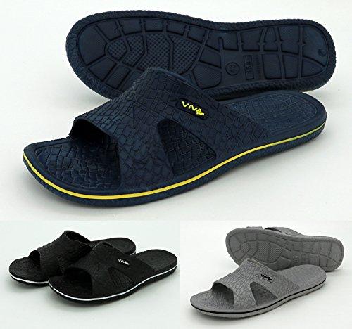 Heimtexland, pantofole da bagno da uomo, per sauna e nuoto, numero 40-45, tipo 554, Plastica, grigio/nero, EUR 41