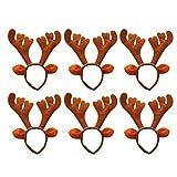 Frcolor 6 x Weihnachts-Stirnbänder Rentier-Geweih Stirnband Weihnachten Foto Booth Requisiten für Kinder Erwachsene Weihnachten Party Cosplay Kostüm (braun)