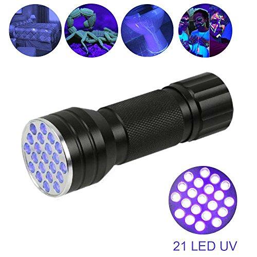 Schwarzlicht-UV-Taschenlampe,Zeerkeer DaskFire 21 LED Blacklight Premium-Handheld-UV-Hund und Katzenurin-Fleckfinder -