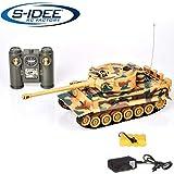 s-idee® 22003 Battle Panzer 99808 KingTiger 1:28 mit integriertem Infrarot Kampfsystem 2.4 Ghz RC R/C Ferngesteuerter Panzer Tank Kettenfahrzeug IR Schussfunktion Sound Licht Schuss Sound Beleuchtung