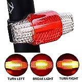 Hangrui Luce Posteriore Bici USB Ricaricabile,Bicicletta Luce Fanale Posteriore Bici 3 modalità di Luce,Fanale Posteriore Attenzione Direzione Luci Bici Impermeabile per Guida Notturna