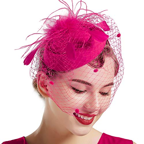 Coucoland Feder Fascinators Hut Damen Blumen Mesh Elegant Hochzeit Fascinator Haarreif Cocktail Tee Party Accessoires (Rosa Rot)