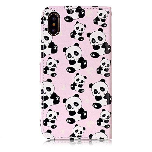 CLM-Tech Custodia Pelle Sintetica per Apple iPhone X Flip Case con funzione supporto Panda rosa nero bianco Panda rosa nero bianco