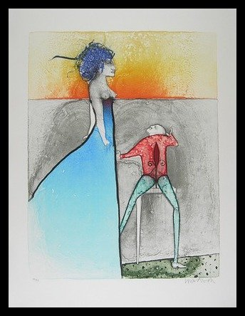 Paul Wunderlich La Femme Grafik im Alu Rahmen in schwarz 80x60cm