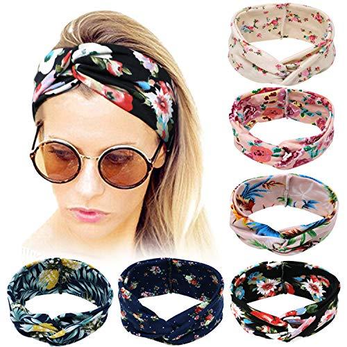 Bascolor Stirnband Damen elastische Haarband Kopfband Weich Turban Stirnband für Alltag Yoga Sport Fitness (6pcs blumenmuster stirnband)