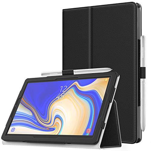 MoKo Cover per Samsung Galaxy Tab S4 10.5', Custodia Pieghevole, a Piedi Supporto, con Funzione Auto Sveglia/Sonno, con Anello per Penna, per Samsung Galaxy Tab S4 10.5' - Nero