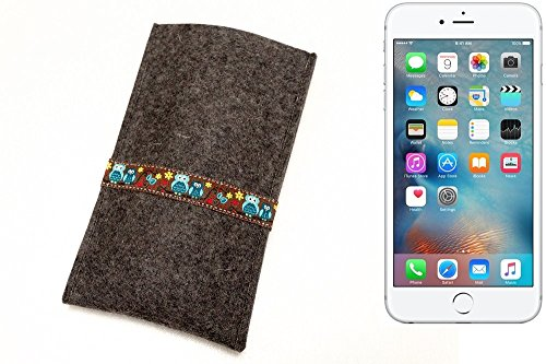 """flat.design Filzhülle """"Lisboa"""" für Apple iPhone 6s Plus - passgenaue Handytasche aus 100% Wollfilz (anthrazit) - made in Germany Schutz Case für Apple iPhone 6s Plus Eulen - anthrazit"""
