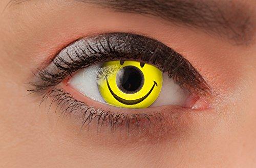 Weiche farbige Kontaktlinsen Funlinsen mit Motiv ohne Stärke für Halloween Fasching Party Kostüm und den Alltag (1 Paar (2Linsen), 25 - Smiley)