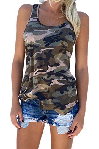 Frau Sommer Casual Locker Camouflage - T - Shirt - Tank Top - Tee Und Größe Green XXL