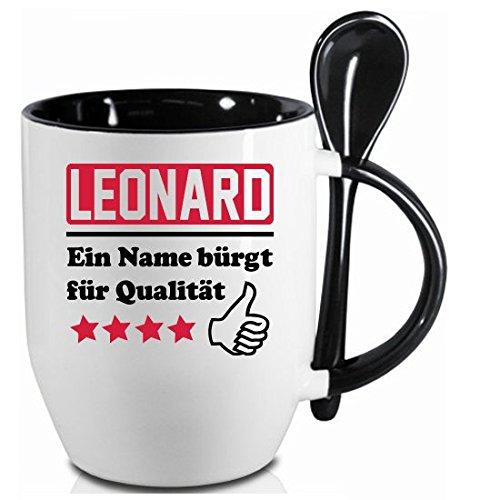2 Stück Namenstasse Leonard. Ein Name bürgt für Qualität + WM Pott 2018.' Schwarzer Becher und Fussballtasse. Siehe auch Produktbild 2.