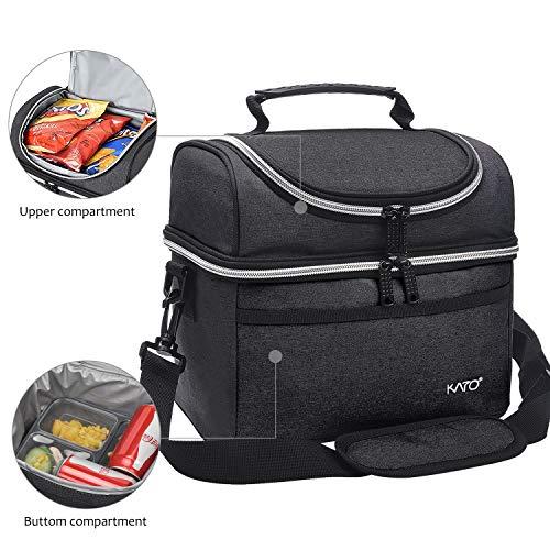 Kato lunchtasche isoliertklein, Kühltasche zum Mittagessen, 8l auslaufsicherer Lebensmittelbeutel mit zwei Fächern Kühler Bento Lunchbox Picknick-Tasche für Frauen Männer