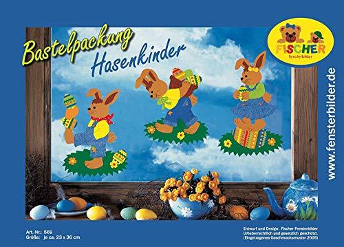 Fischer Fensterbild HASENKINDER, Bastelpackung je ca. 23x36 cm zum Selberbasteln, Basteln mit Papier und Pappe zu Ostern