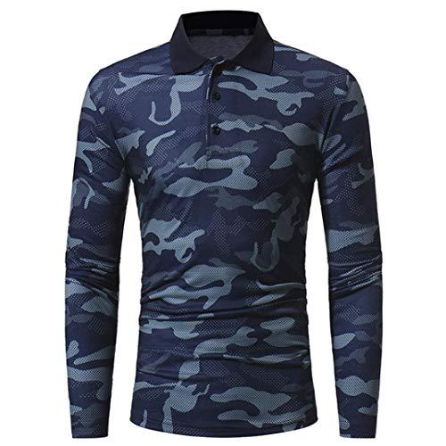 Cloom Camouflage Herren Langarmshirt Slim Fit Poloshirt Herren Longsleeve Herren V Ausschnitt Sweatshirt Herren Hoodie Pulli Hemd Herren Slim Fit Herren Hemden (Dunkelgrau,Large)