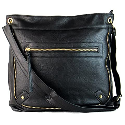 Xardi London Cross-Body Bags for Women, Over the Shoulder Book Bag with Compartment for School Girls , Ladies Black Faux Leather Handbag with 130 cm Long Adjustable Strap