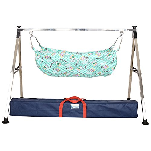 Indian Style Folding Stainless Steel Ghodiyu (Baby Cradle) with Cotton Hammock