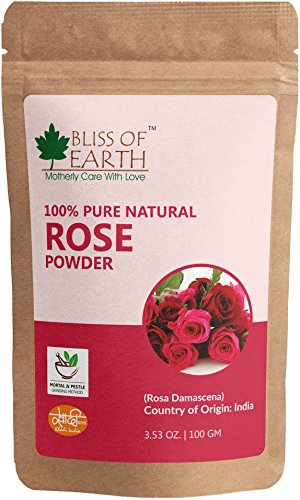 Bliss of Earth Pure Natural Rose Petals Powder, 100g