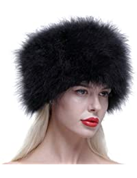 Sombrero Gorro de piel caliente de invierno de avestruz  real 6c76b3ead04