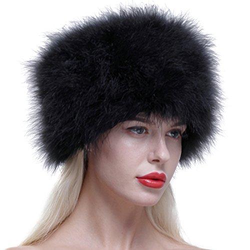 Ursfur, colbacco da donna in vera pelle di struzzo nero taglia unica