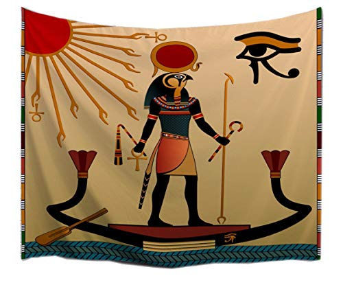 A.Monamour Old God Sun Ra Old Egyptian Faith Icon Traditional Brown Print Fabric Tapestries Wall Hanging Decoration for Bedrooms 153X102Cm / 60 'X40