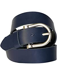 FRONHOFER cinturón de señora, cinturón de piel de 3,5 cm, cinturón señora, caqui, crema, burdeos, coñac, hebilla de cinturón semicircular de plata, 18161