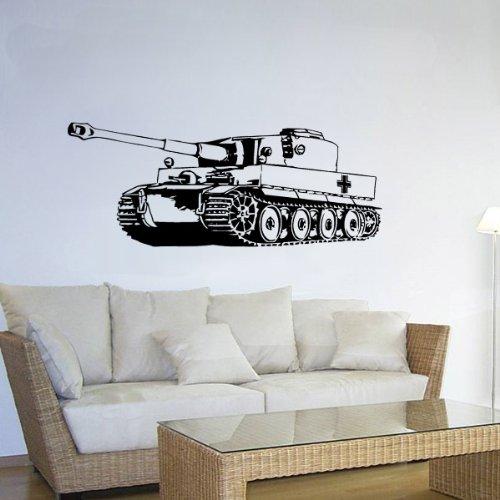 Preisvergleich Produktbild Wandtattoo Tiger Panzer 2 Sonderkraftfahrzeug BW Einheit Fahrzeug 45x120cm A1896