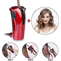 Rizador de pelo automático iGutech con cerámica Turmalina, calentador y monitor LED (Rojo)