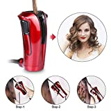 iGutech Automatic hair curler with Tourmaline ceramic heater and LED digital display (red)