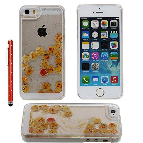 iPhone SE Case Liquide Eau Coque, Transparente Dur Étui Protection avec Écoulement Sable coloré / Emoji intéressant Désign pour Apple iPhone 5 5S SE 5G, Case Avec 1 stylet or