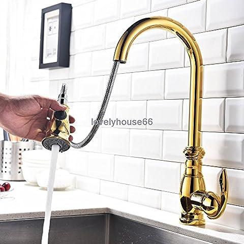 YFF@ILU Moderne massiv Messing nach unten ziehen, Dusche einzigen Griff Loch Küche Mischbatterie Wasserhahn , Gold