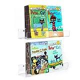 HIIMIEI Kids Acrylic Ledge - Estantería flotante, 42 cm, paquete de 2, estantes transparentes de pared transparente, repisa para libros, 50% más gruesa con destornillador libre
