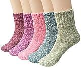 Vellette Calcetines De Algodš®n Lana calcetines tšŠrmicos varios dise?os colores invierno mujer--Ideales para invierno (5 Pares)
