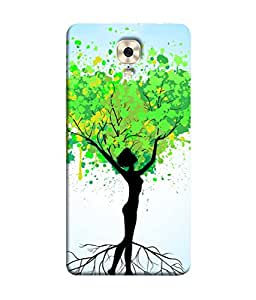PrintVisa Designer Back Case Cover for Gionee M6 (Abstract Illustration Colorful Decorative Graphic Green Black)