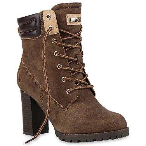 Damen Schnürstiefeletten Worker Boots Stiefeletten Block Absatz Khaki