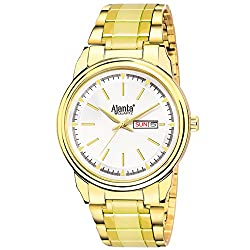 Ajantas White Dial with Golden Belt Day & Date Analog Wrist Watch for Men AQ-035-S