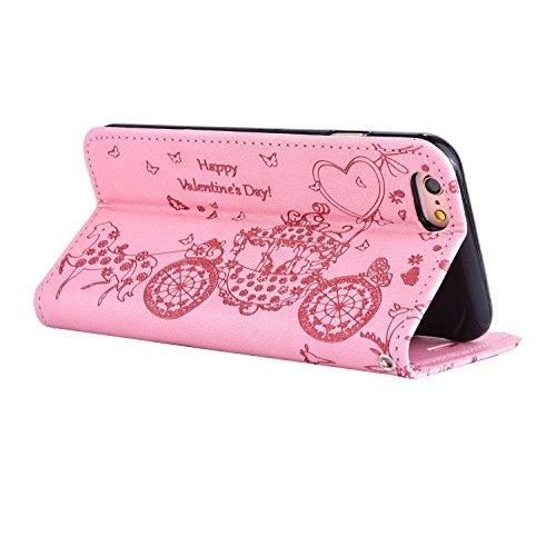 iPhone Case Cover IPhone 6 6s cas, résine strass fleur en relief motif papillon motif folio stand case PU cas en cuir avec slot carte de crédit et photo porte-fenêtre main cas support pour iphone 6 6s Pink
