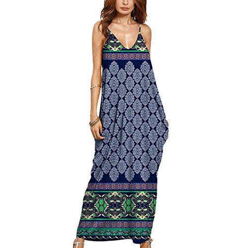 Strandkleider Damen V-Ausschnitt Ärmellos Lang Schulterfrei Boho Sommerkleid Casual Lang Maxikleid Cocktail Beachwear Stil 1