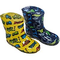 Mellow Be Soft Touch Infant Baby Rain Boots. Yellow With Trucks or Blue With Dinosaurs. Available 15-24 Months (EURO 19-21)