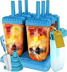 Idea Regalo - HelpCuisine Stampi ghiaccioli - Stampi per Gelati Realizzati in plastica di Alta qualità priva di BPA e Approvata dalla FDA, Ideale per la Preparazione di ghiaccioli, Gelati, sorbetti,(Blu)
