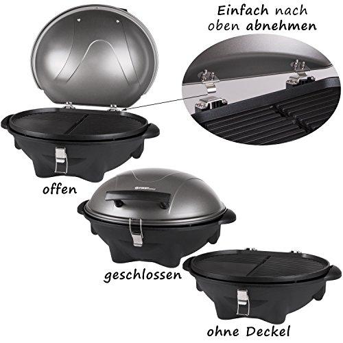 TZS First Austria - elektrischer Standgrill in 3 min heiß, Kugelgrill, Tischgrill, Standgrill mit Deckel, Ablagefläche, elektro outdoor Grill mit Haube Elektrogrill mit Standfuss | klappbar mit Rollen