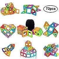 PovKeever Bloques Magnéticos de Construcciones, 72 Piezas Kits de azulejos de construcción de imán Conjunto de bloques de construcción Juguete educativo Perfect DIY Juguete o niños regalo de de PovKeever