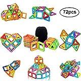 PovKeever 72 Magnetische Bausteine Kleinkind Spielzeug Magnetische Bauklötze Konstruktion Blöcke Konstruktionsbausteine Magnetspielzeug Lernspielzeug für Kinder, Bestes Geburtstag Weihnachtsgeschen