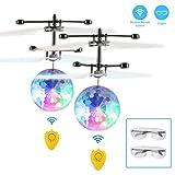 2 PACK RC Fliegender Ball, Fansteck Flying Ball RC-Infrarot Fliegendes Spielzeug mit Schutzbrille und Mini Ferbedienung, für Kinder und Erwachsene