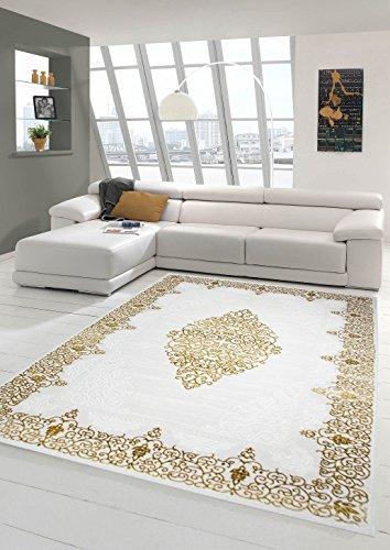 Traum Designer Teppich Moderner Teppich Wollteppich Meliert Wohnzimmerteppich Wollteppich Ornament Creme Beige Gold Größe 80x150 cm