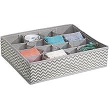 mDesign Organizador de cajones con estampado en zigzag – Caja organizadora de tela para cinturones, calcetines, etc. – Organizador de ropa interior con 16 compartimentos – gris topo/crema