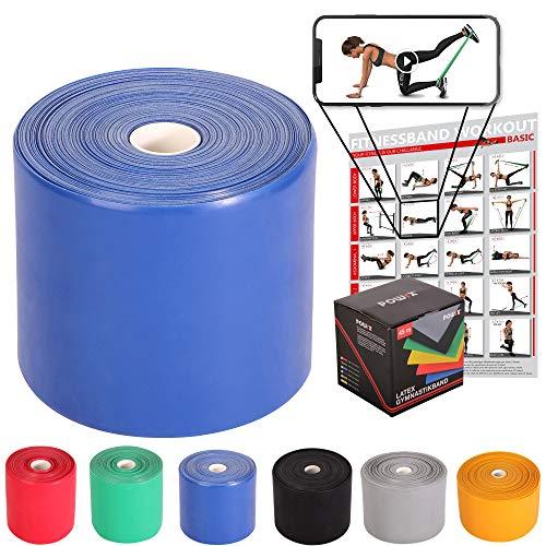 POWRX Fitnessbänder Rollen Widerstandsvarianten | 45 m Latex-Band für Yoga, Pilates, Reha-Sport Physio-Gymnastik - Für Männer & Frauen (Blau)
