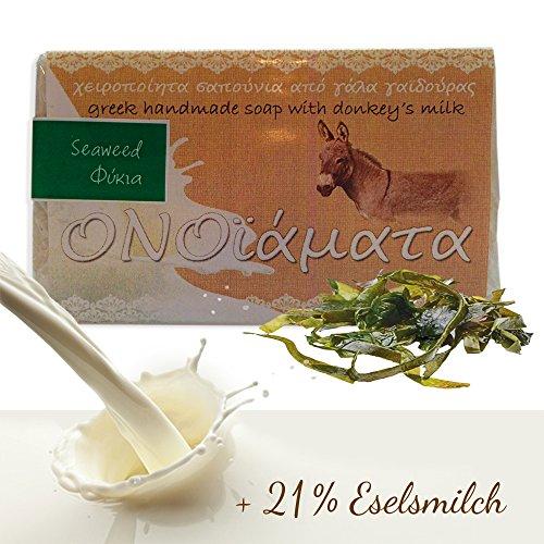Eselsmilchseife mit Meeresalgen und Olivenöl 100 g, feuchtigkeitsspendende Naturseife Hand Made Seife original aus Griechenland - Gesicht Esel Milch