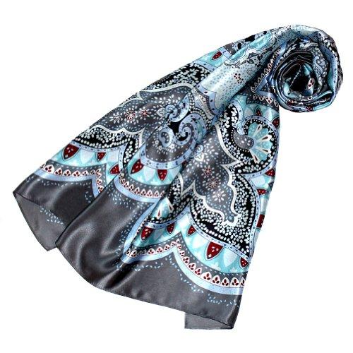LORENZO CANA Luxus Damen Seidentuch aufwändig bedruckt Tuch 100% Seide 90 x 90 cm harmonische Farben Damentuch Schaltuch 89078 -
